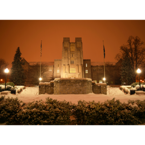 A mid-winter snowstorm blankets Burruss Hall and the drillfield of Virginia Tech